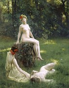 Lesbian Painting Prints - The Glade Print by Julius Leblanc Stewart