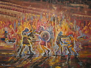 Crowds Paintings - The Gladiators by Marshall Desveaux