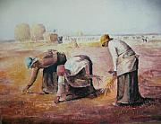 Gleaners Framed Prints - The Gleaners after Millet by My Dad Framed Print by Anne-Elizabeth Whiteway