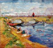 Gogh Paintings - The Gleize Bridge over the Vigneyret Canal  by Vincent van Gogh