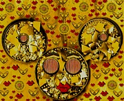 Pearls Mixed Media Posters - The Global Mickey Mouse In Gold Color Poster by Pepita Selles