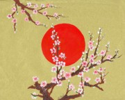 Sakura Paintings - The glory morning sakura by Renu Martin