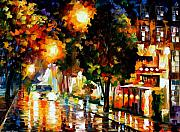 Amsterdam Painting Posters - The Glowing Night Poster by Leonid Afremov