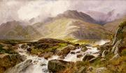 Rapids Painting Framed Prints - The Glyder Fawr  Framed Print by Edwin Pettitt