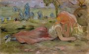Morisot; Berthe (1841-95) Painting Metal Prints - The Goatherd Metal Print by Berthe Morisot