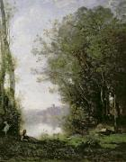 Lake Paintings - The Goatherd beside the Water  by Jean Baptiste Camille Corot