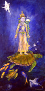 Goddess Mythology Paintings - The Goddess Lightbearer by Doris Blessington