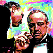 Movie Stars Painting Prints - The Godfather - Marlon Brando Print by David Lloyd Glover