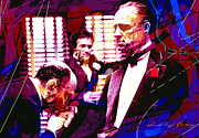 Mafia Paintings - The Godfather Kiss by David Lloyd Glover