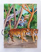 Jungle Animals Paintings - The Gold of the Tigers by Robert Lacy