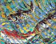 Trout Paintings - The Gold Spoon by Robert Wolverton Jr