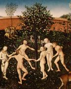 Stag Metal Prints - The Golden Age Metal Print by Lucas Cranach
