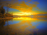 Okanagan Lake Posters - The Golden Clouds of Winter Poster by Tara Turner