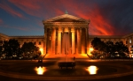 Historic Statue Posters - The Golden Columns - Philadelphia Museum of Art - Sunset Poster by Lee Dos Santos