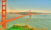 Marin County Digital Art Prints - The Golden Gate Bridge  Fall Season Print by Alberta Brown Buller