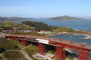 Baker Island Photos - The Golden Gate Bridge North Side Overlooking Angel Island and Tiburon and Horseshoe Bay . 7D14494 by Wingsdomain Art and Photography