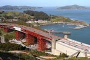 The Golden Gate Bridge North Side Overlooking Angel Island And Tiburon And Horseshoe Bay . 7d14540 Print by Wingsdomain Art and Photography