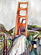 Driving Mixed Media - The Golden Gate Bridge San Francisco by Mindy Newman