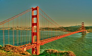 Sausalito Framed Prints - The Golden Gate Bridge Summer Framed Print by Alberta Brown Buller