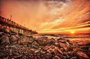 Oceanside Framed Prints - The Golden Hour Framed Print by Larry Marshall