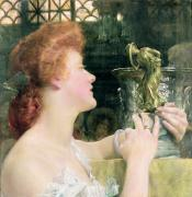Studying Framed Prints - The Golden Hour Framed Print by Sir Lawrence Alma-Tadema