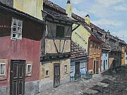 Prague Castle Paintings - The Golden Lane of Prague by Melinda Molnar