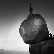 Buddhist Monk Photos - The Golden Rock by Nina Papiorek