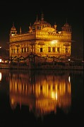 Garlands Framed Prints - The Golden Temple Is Reflected Framed Print by James P. Blair
