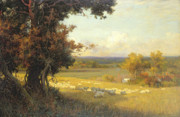 Peaceful Painting Posters - The Golden Valley Poster by Sir Alfred East