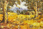 Australia Mixed Media Prints - The Golden Valley Print by Zeana Romanovna