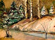 Fir Trees Drawings - The Golden Woods by Mindy Newman