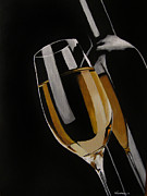 Wine Glass Paintings - The Golden Years by Kayleigh Semeniuk