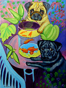 Pug Dogs Prints - The Goldfish Bowl - Pug Print by Lyn Cook