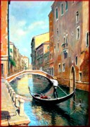 Italian Landscapes Paintings - The Gondola by Vaccaro