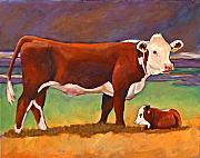 Folk Art Paintings - The Good Mom Folk Art Hereford Cow and Calf by Toni Grote