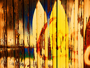 Painted Wood Prints - The Good Old Days of Surfing Print by Susanne Van Hulst