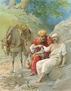 Bible Framed Prints - The Good Samaritan Framed Print by Ambrose Dudley