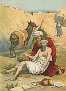 Good Framed Prints - The Good Samaritan Framed Print by English School
