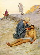 Charity Painting Metal Prints - The Good Samaritan Metal Print by William Henry Margetson