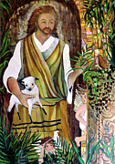 Jesus Art Drawings - The Good Shephard at the Door by Mindy Newman