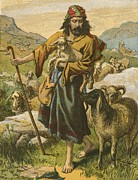 Christian Painting Framed Prints - The Good Shepherd Framed Print by English School