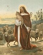 Christ Painting Posters - The Good Shepherd Poster by John Lawson