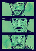 Western Drawings Posters - The Good the Bad and the Ugly Poster by Giuseppe Cristiano