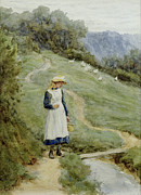 Apron Painting Framed Prints - The Goose-Girl  Framed Print by Helen Allingham