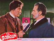Lobbycard Framed Prints - The Gorgon, From Left Christopher Lee Framed Print by Everett