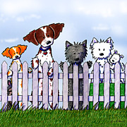 Dogs Digital Art - The Gossip Gang by Kim Niles