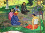 Conversing Painting Metal Prints - The Gossipers Metal Print by Paul Gauguin
