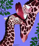 Blue Giraffes Mixed Media - The Graceful Giraffe and Baby by Jenny Sorge