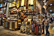 Merchant Posters - The Grand Bazaar in Istanbul Turkey Poster by David Smith