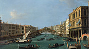 Docks Paintings - The Grand Canal by Antonio Canaletto